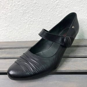 Pikolinos Low Wedge Heel Mary Janes Shoes Black